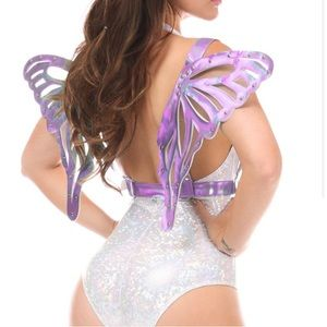 Purple Holographic Harness Wings butterfly angel